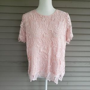 Philosophy Light Pink Floral Lace Blouse Size XL
